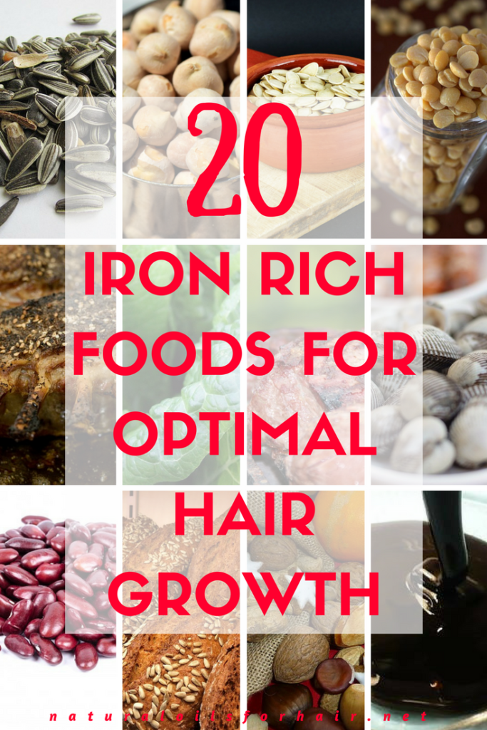 20 iron rich foods for optimal hair growth. Options for meat eaters and vegetarians to mix and match according to their diets