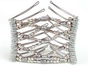 silver pearl encrusted hairzing