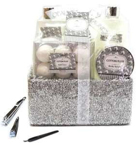 9 PIECE Silver Bubble Bath Fizzer Bomb Bath Body Shower Spa Gift Set Basket
