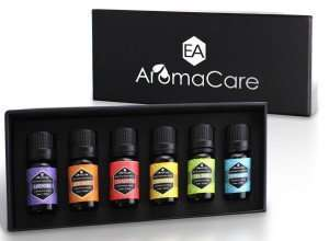 AromaCare - Aromatherapy Essential Oils Gift Set, Therapeutic Grade,100% Pure, (Lavender, Peppermint, Lemongrass, TeaTree, Eucalyptus, Bergamot) FREE ebook