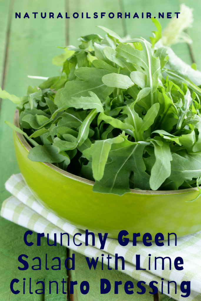 Crunchy green salad with lime cilantro dressing