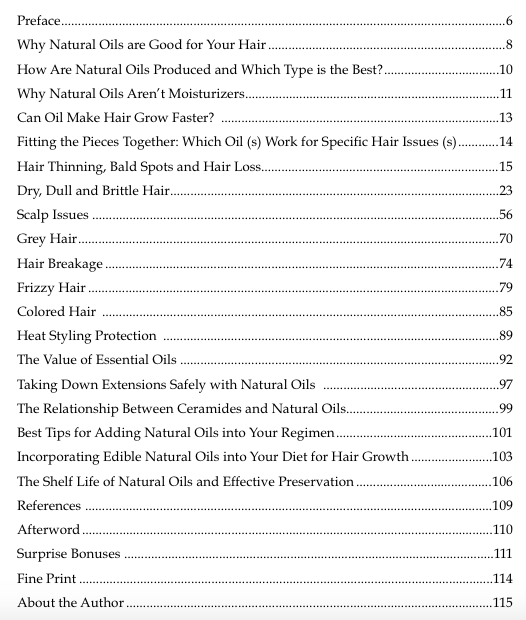 Grow Your Hair Healthy and Long with Over 30 Natural Oils table of contents