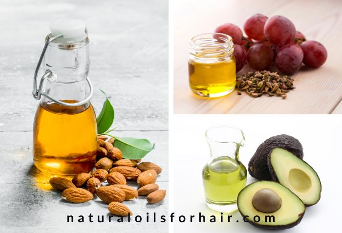 Best hair steaming oils, grapeseed oil, avocado oil, sweet almond oil