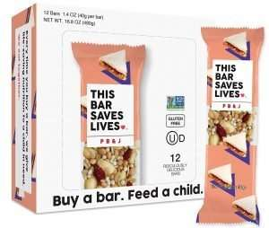 This Bar Saves Lives Granola Breakfast Bar, Peanut Butter & Jelly PB & J