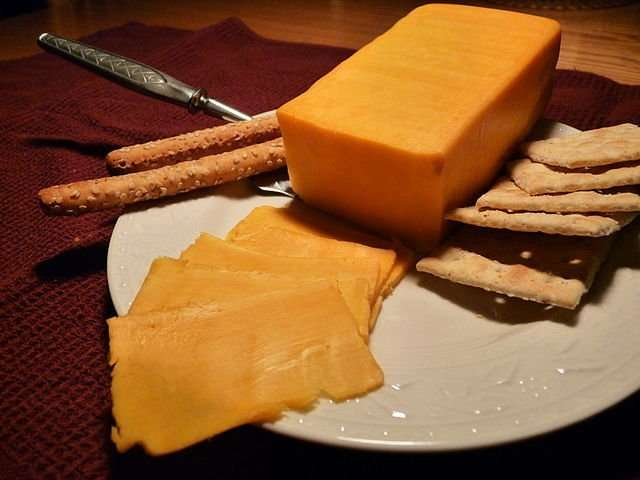 Colby cheese colored with annatto