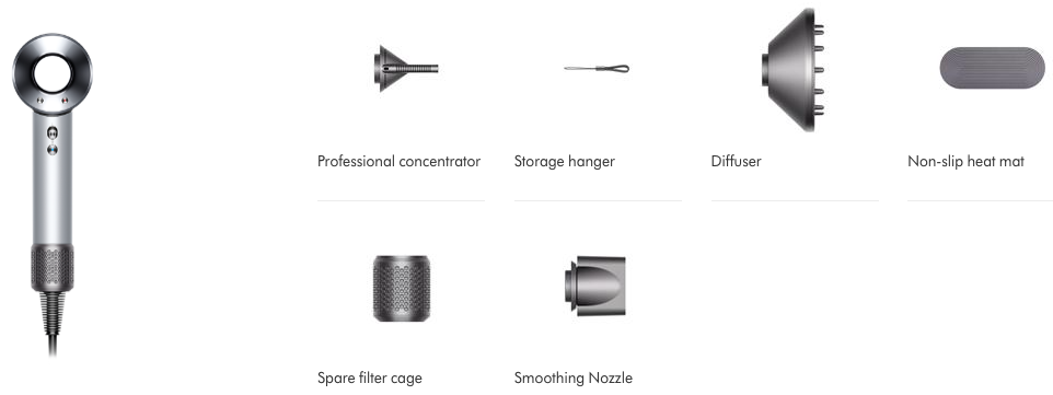 Dyson Professional Hair Dryer attachments