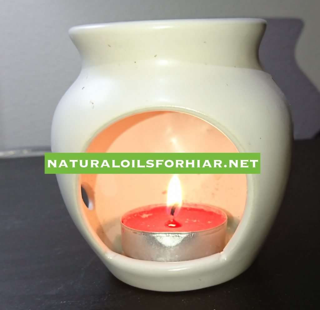 Tealight Candle Burning in Essential Oil Burner