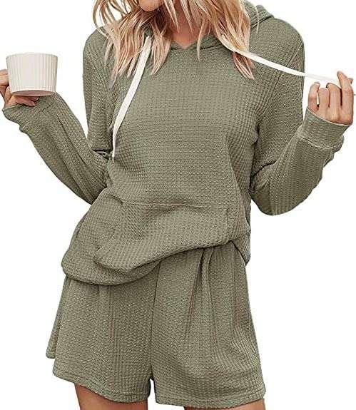 Knit Hoodie and Shorts Pajama Set